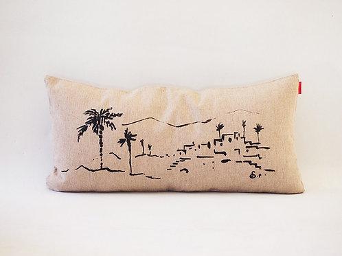 Housse de coussin paysage palmier