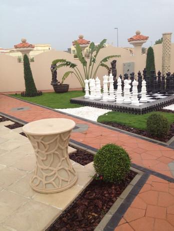 Villa landscape, decorations, lights, Du