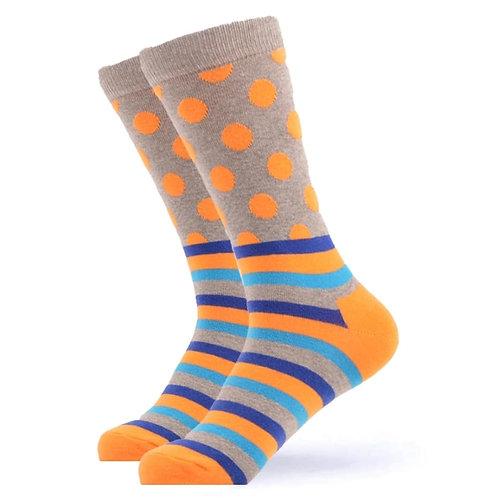 Orange Stripe Polka Dot