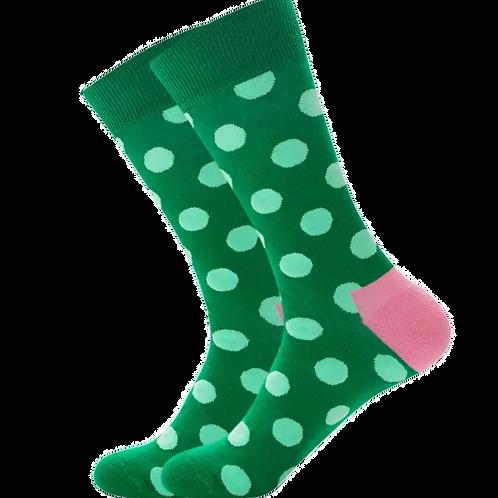 Green Polka Dot w/ Pink Heel