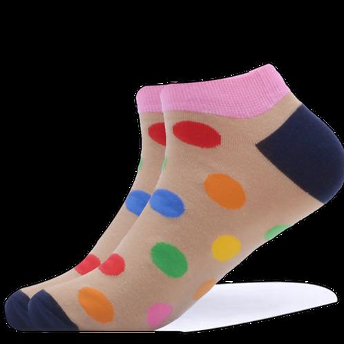 Ankle Beige Polka Dot