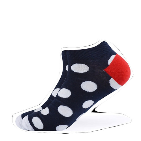 Navy and White Polka Dot Ankle