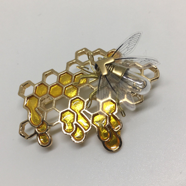 Honeycomb and Bee Brooch