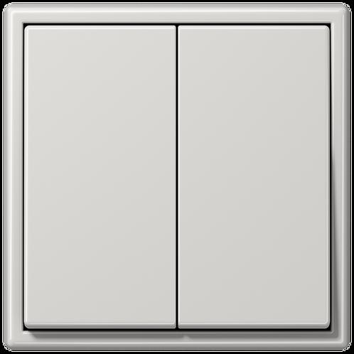 Выключатель двухклавишный LS 990, Светло-серый глянцевый
