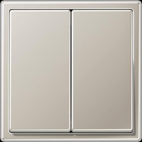 Выключатель двухклавишный LS 990, металл, цвет-Нерж.сталь