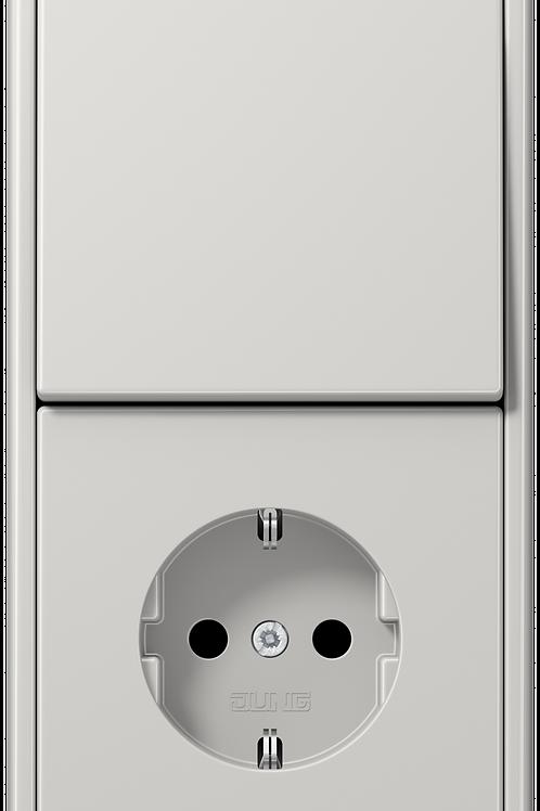 Розетка и выключатель одноклавишный в двойной рамке LS 990,Светло-серый