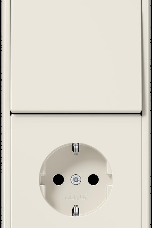 Розетка и выключатель однокл. в двойной рамке LS 990,Слоновая кость