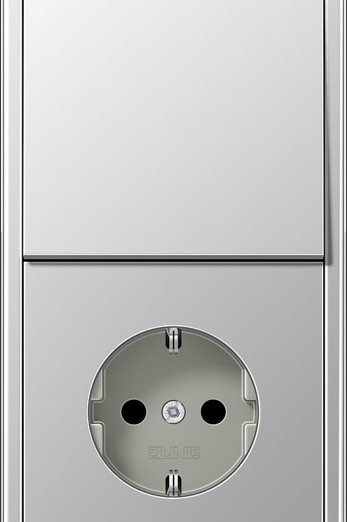 Розетка и выключатель однокл. в двойной рамке LS 990,металл, цвет-Алюминий