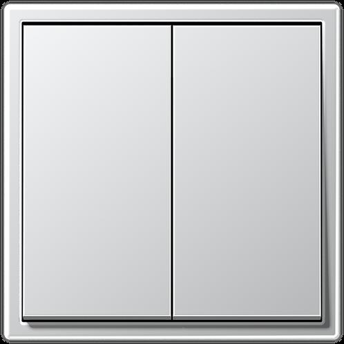 Выключатель двухклавишный LS 990, металл, цвет-Алюминий