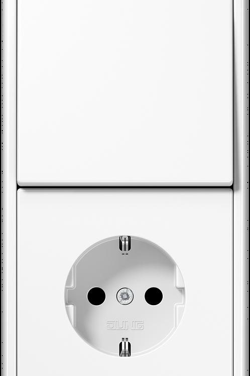 Розетка с заземлением и выключатель одноклавишный в двойной рамке LS 990, белый