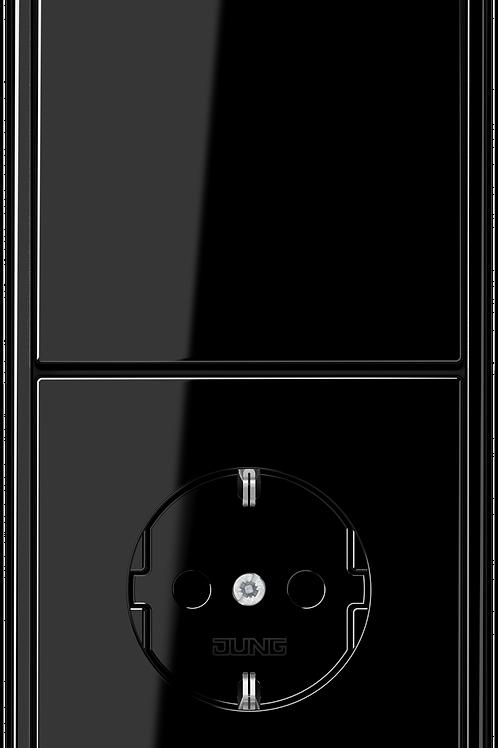 Розетка с заземлением и выключатель одноклавишный в двойной рамке LS 990,черный