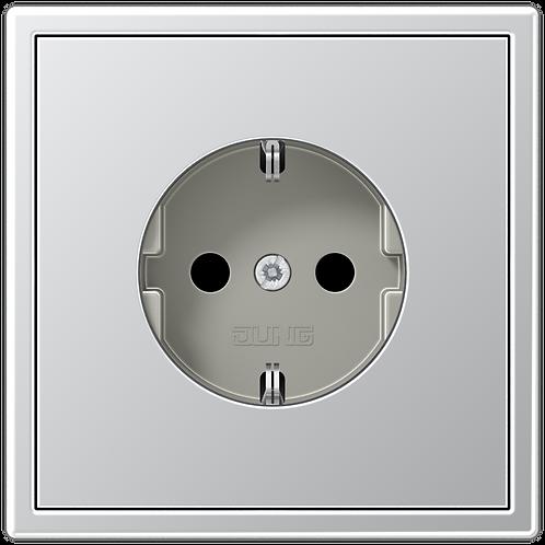Розетка с заземляющими контактами 16 А / 250 В~ LS 990, металл, цвет-Алюминий