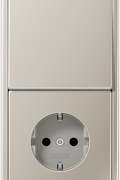 Розетка и выключатель однокл. в двойной рамке LS 990,металл, цвет-Нерж.сталь
