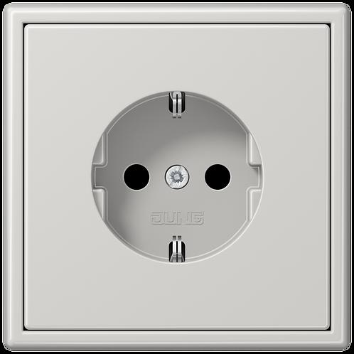Розетка с заземляющими контактами 16 А / 250 В~ LS 990,Светло-серый глянцевый