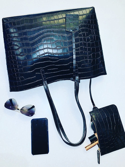 London Tote Bag Black Moc Croc