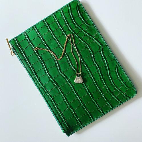 Moc Croc Clutch Green