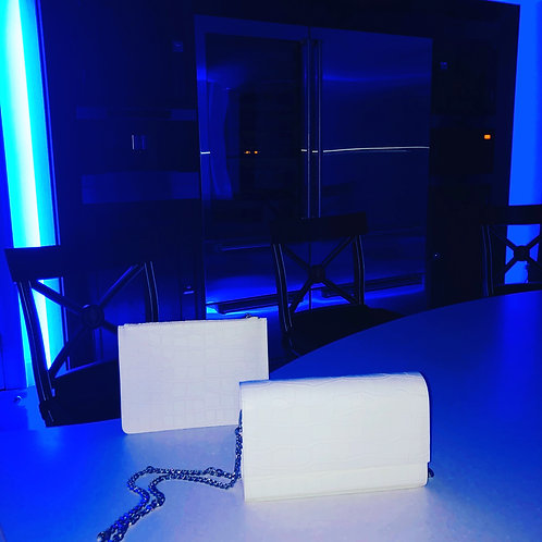 The White Collection | Moc Croc Clutch Bag and Moc Croc Chain Bag
