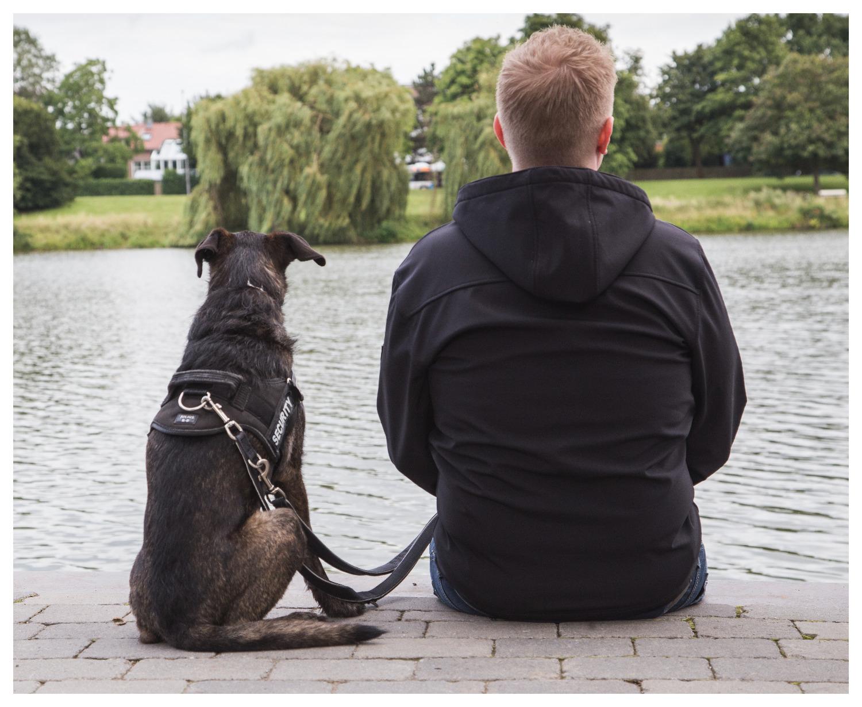 Portrait Hund und Herrchen