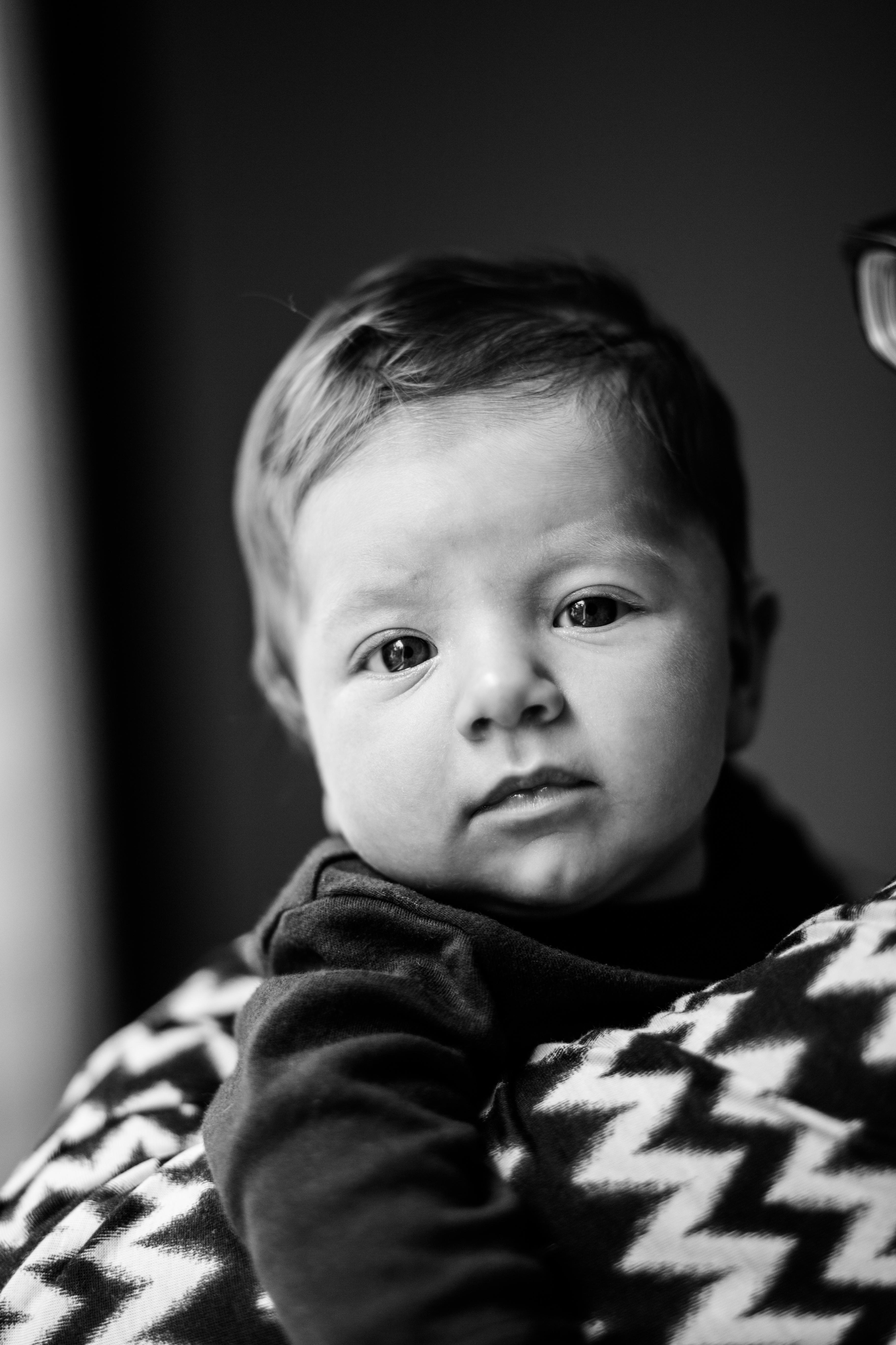 Baby schwarz-weiß Portrait