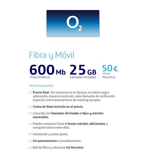 Fibra de 600 Mb + Ilimitada y 25 GB