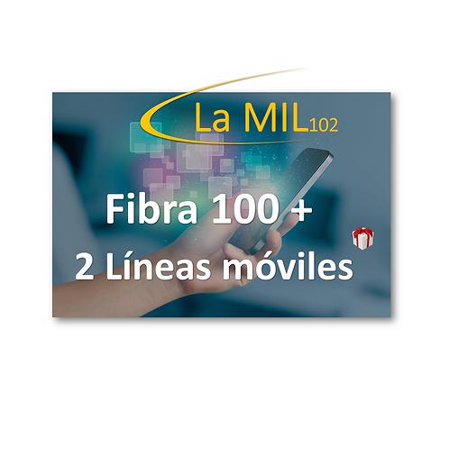 Fibra + 2 Lineas Móviles + Teléfono
