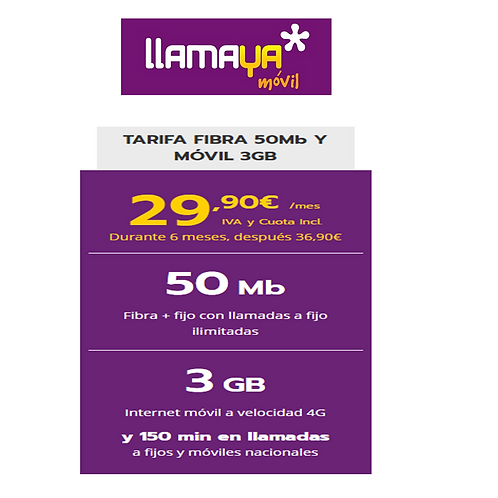 Fibra de 50 Mb + linea 150 minutos y 3 GB