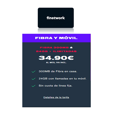Fibra de 300 Mb + Ilimitada y 24 GB