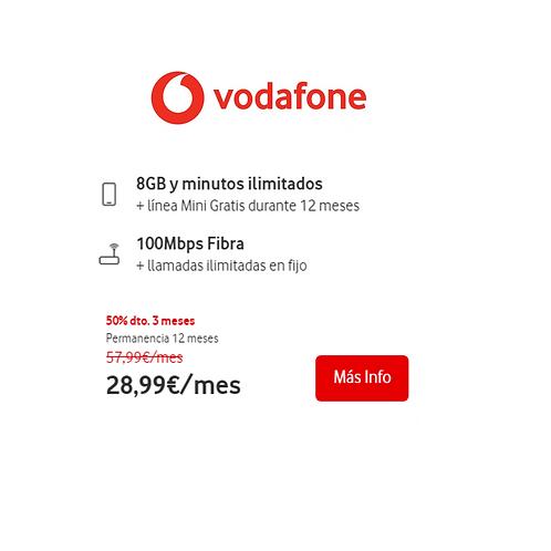 Fibra de 100 Mb + Ilimitada y 8 GB