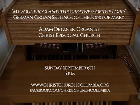 Organ Recital Livestream - Sunday at 5 p.m.