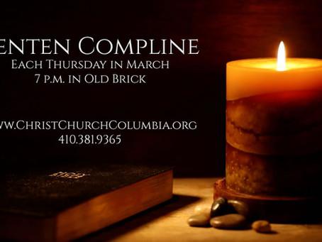 Lenten Compline - Each Thursday Until Holy Week