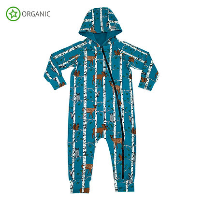 VILLERVALLA organic All in One Suit with Hood Birch Animals | Atlantic