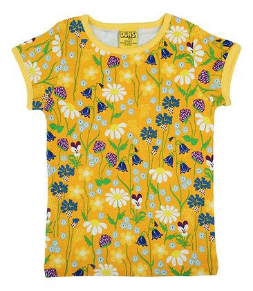 DUNS Sweden organic Short Sleeve Top Midsummer Flowers | Yellow