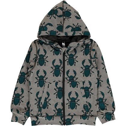 MAXOMORRA organic Cardigan Hood | Beetle