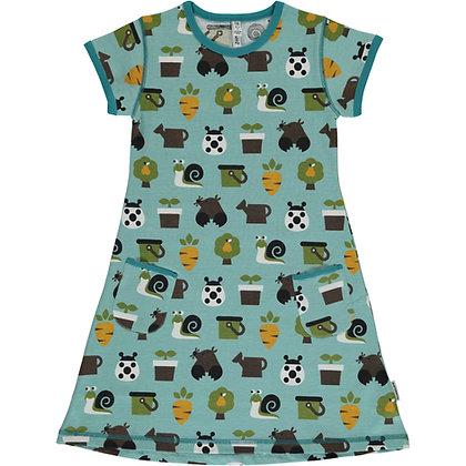 MAXOMORRA organic Short Sleeve Dress | Garden