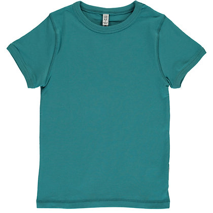 MAXOMORRA organic Short Sleeve Top | Soft Petrol
