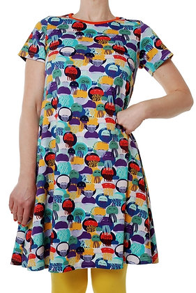 DUNS Sweden organic Adult Short Sleeve Dress Jellyfish | Purple and Teal