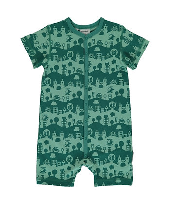 MAXOMORRA organic Short Sleeve Rompersuit with Buttons | City Landscape