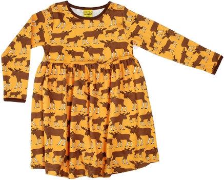 DUNS Sweden organic Long Sleeve gathered Dress Moose   Mustard