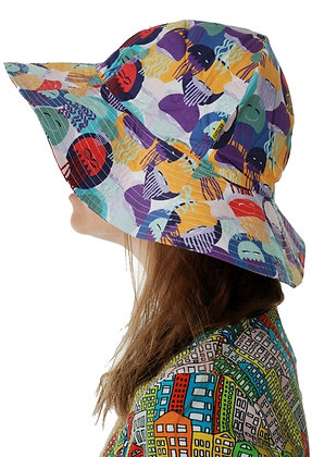 DUNS organic Woven Sunhat with Wide Brim Jellyfish | Purple and Teal