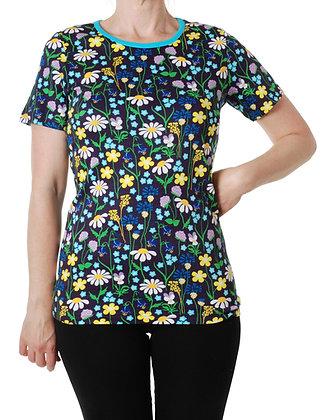 DUNS Sweden organic Adult Short Sleeve Top Midsummer Flowers | Purple
