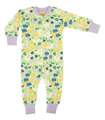 DUNS Sweden organic Zip Suit Midsummer Flowers   Green