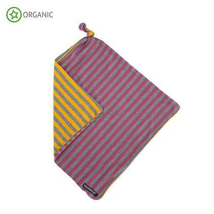 VILLERVALLA organic Striped Baby Blanket | Smoothie/Mustard