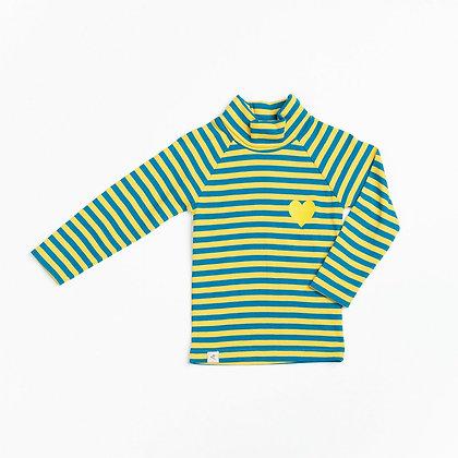 ALBA of Denmark Westwind Highneck blouse | Ceylon Yellow Love Stripes
