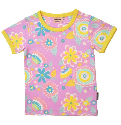 MOROMINI organic Ladies Short Sleeve Top | Mumbai Flower Market Pink