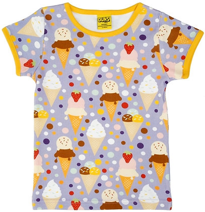 DUNS Sweden organic Short Sleeve Top Ice Cream | Lavender
