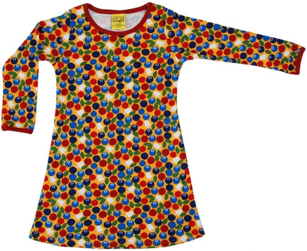 DUNS Sweden organic Long Sleeve Dress Blueberry | Mustard Yellow