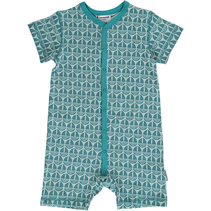 MAXOMORRA organic Short Sleeve Rompersuit with Buttons   Sail Boat