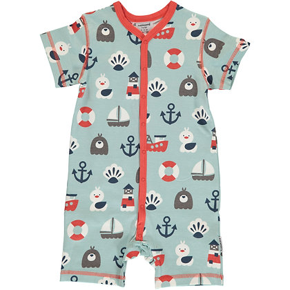 MAXOMORRA organic Short Sleeve Rompersuit with Buttons | Blue Ocean