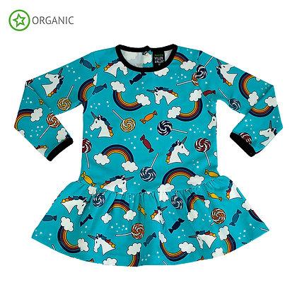 VILLERVALLA organic Long Sleeve Dress with Dropped Skirt Fantasy   Lagoon