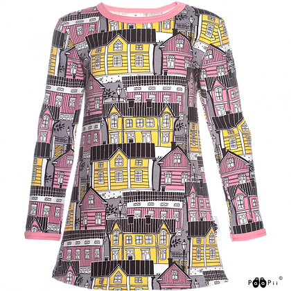 PaaPii VIENO organic Long Sleeve Tunic, Old Town | Light Pink and Yellow